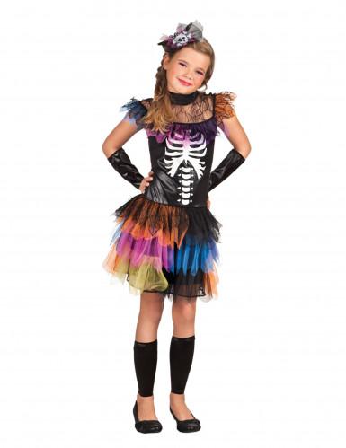 Buntes Skelettkostüm Mädchen