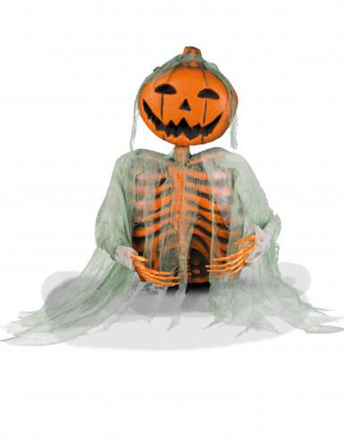 Halloween-Deko Skelett mit Kürbiskopf, 52 cm