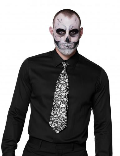 Totenkopf-Krawatte für Erwachsene schwarz-weiß