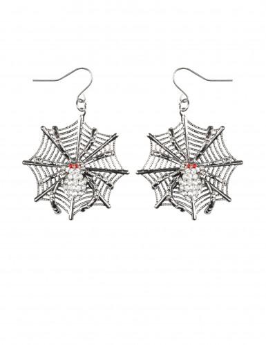 Halloween-Ohrringe Spinnennetz aus Metall silber-rot-1