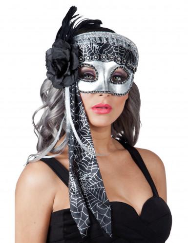 Ausgefallene Augenmaske Silber mit Spinnentz für Damen