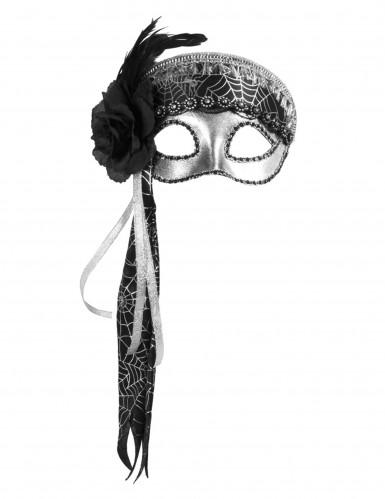 Ausgefallene Augenmaske Silber mit Spinnentz für Damen-1