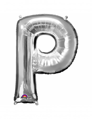 Aluminum-Ballon Buchstabe P silber 33 cm