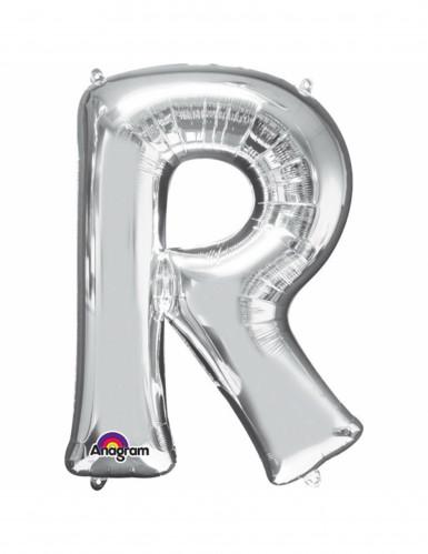 Aluminium-Ballon Buchstabe R silber 33 cm