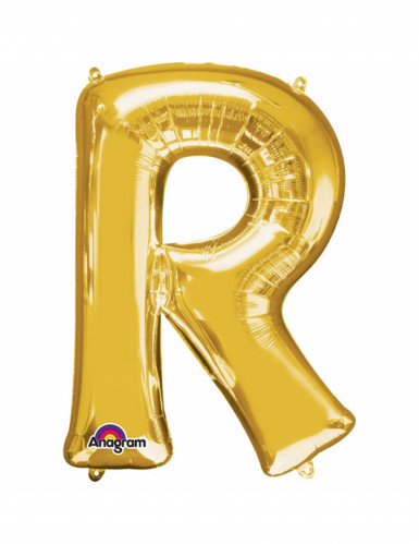 Aluminium-Ballon Buchstabe R goldfarben 33 cm