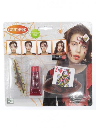 Halloween-Schminkset Blutige Herzkönigin für Erwachsene