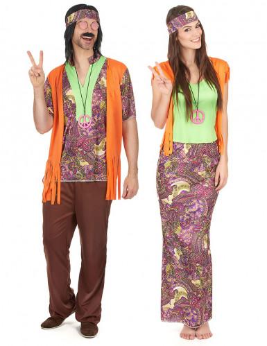 Hippie 70er Jahre Paarkostüm bunt