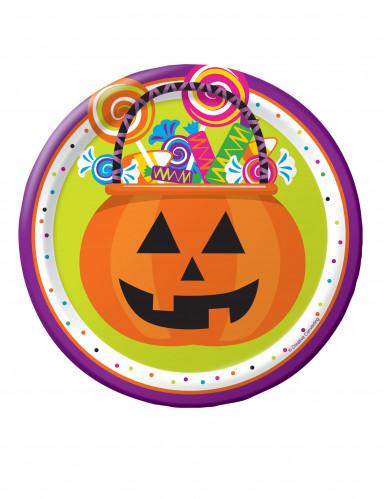 8 Kleine Pappteller für Halloween