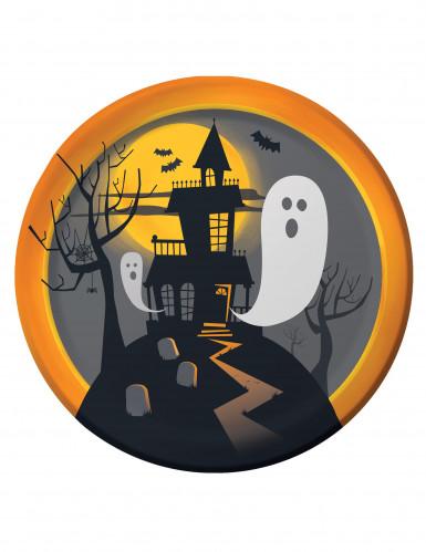 8 kleine Pappteller Halloween-Geisterhaus, 22 cm
