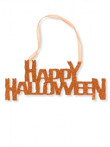 Glitzernde Happy Halloween Türdeko orange 31 cm