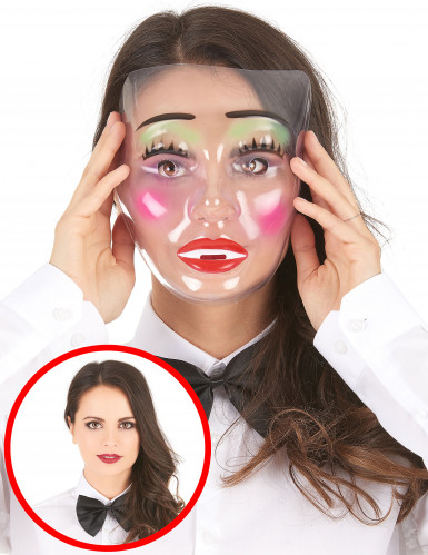 Geschminkte Frau Maske transparent