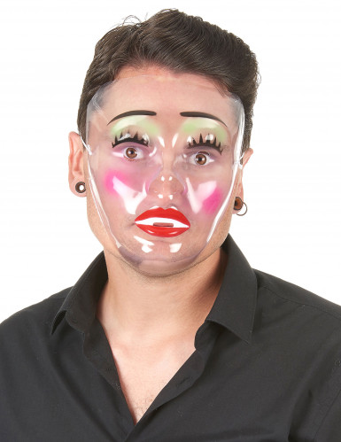 Geschminkte Frau Maske transparent-1