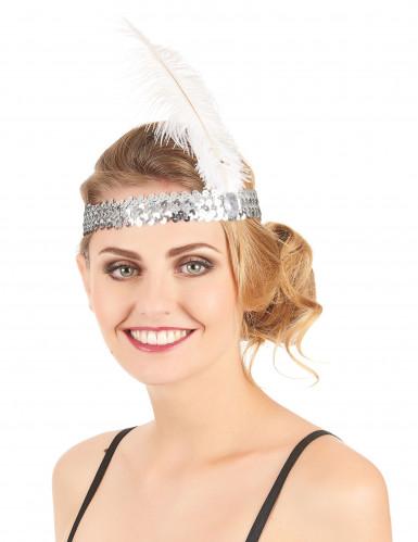 20er Pailletten Stirnband für Damen silber-1