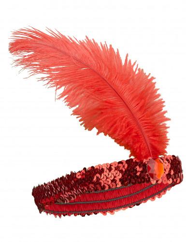 20er Pailletten-Haarband mit Feder für Damen rot