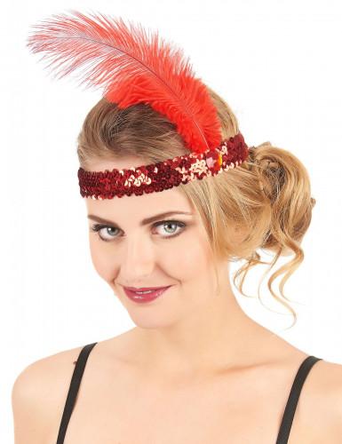 20er Pailletten-Haarband mit Feder für Damen rot-1