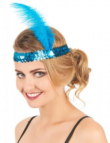 20er Jahre Pailletten Haarband mit Feder für Erwachsene-1