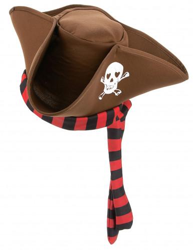 Brauner Piratenhut für Erwachsene