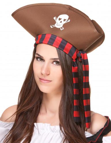 Brauner Piratenhut für Erwachsene-1