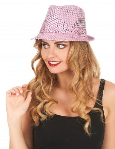 Borsalino Partyhut mit Pailletten rosa-1
