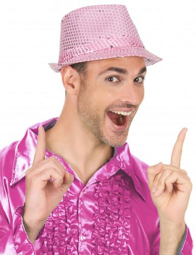 Borsalino Partyhut mit Pailletten rosa-2
