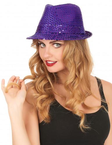 Lilafarbener Hut mit Pailletten-1