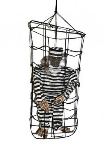 Halloween-Dekoration Skelett im Käfig zum Aufhängen, 1 m