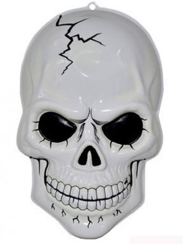 Halloween-Dekoration Leuchtender Totenschädel zum Aufhängen, 56 cm