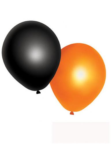 10 Luftballons in Schwarz und Orange für Halloween
