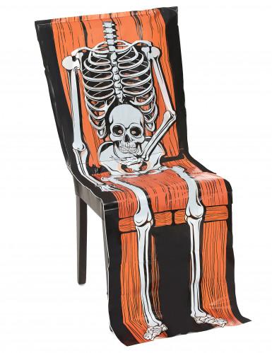 Halloween-Stuhlhusse Skelett aus Plastik, 45 x 140 cm