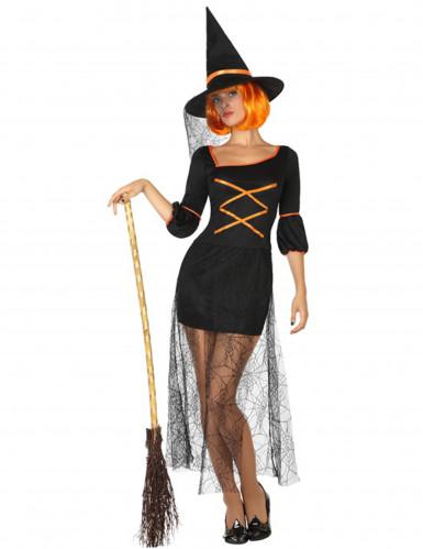 Sexy Hexenkostüm für Damen schwarz-orange