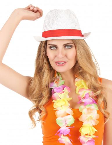 Weißer Borsalino-Hut mit rotem Band für Erwachsene-1
