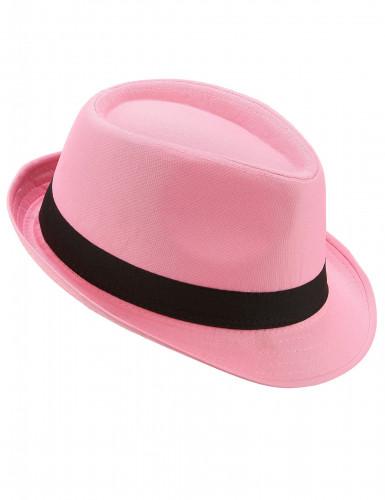 Borsalino-Hut in Rosa mit schwarzem Band