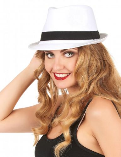 Weißer Borsalino-Hut mit schwarzem Band-1