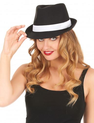 Borsalino-Hut für Erwachsene in Schwarz mit weißen Streifen-1