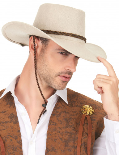 Beiger Cowboy-Hut aus Wildlederimitat-2