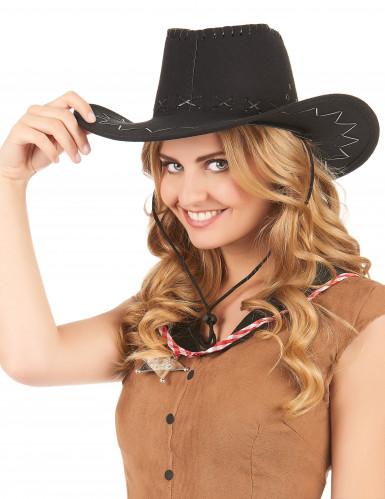Schwarzer Cowboy Hut für Erwachsene-1