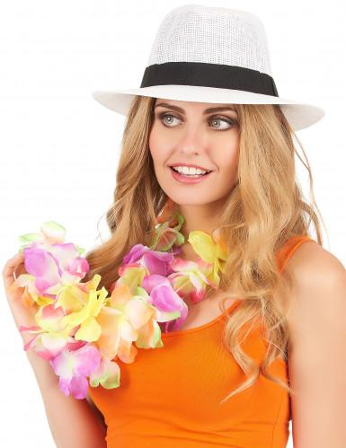 Weißer Panama-Hut mit schwarzem Band für Erwachsene-1