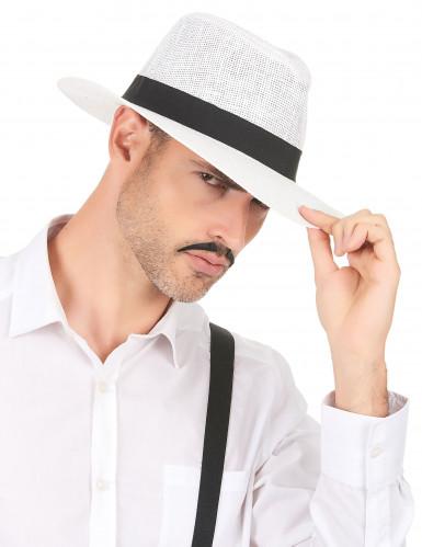Weißer Panama-Hut mit schwarzem Band für Erwachsene-2