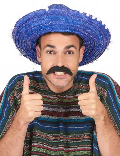 Blauer Sombrero mit Bommel für Erwachsene-1