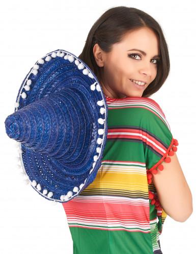 Blauer Sombrero mit Bommel für Erwachsene-2