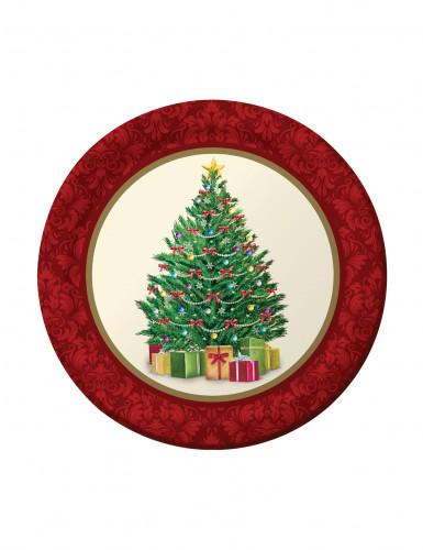 8 kleine Pappteller mit Weihnachtsbaum