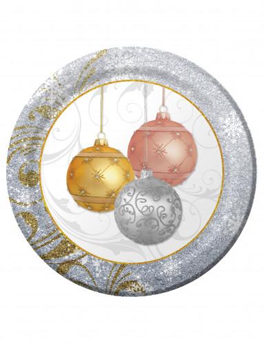 8 Pappteller Weihnachtskugeln 26 cm