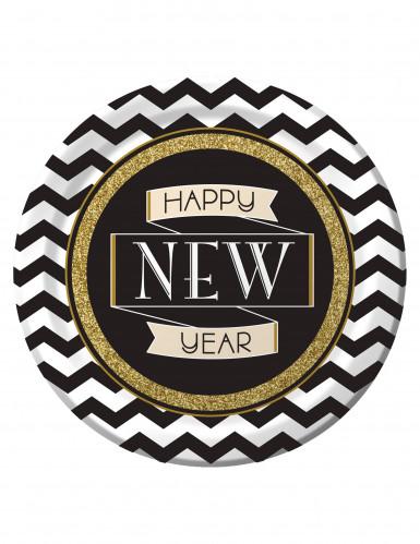 8 Happy New Year Party-Teller mit Glitzer 23 cm