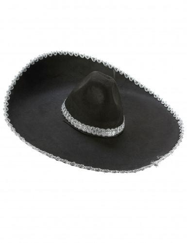 Mexiko Sombrero für Erwachsene schwarz-silber