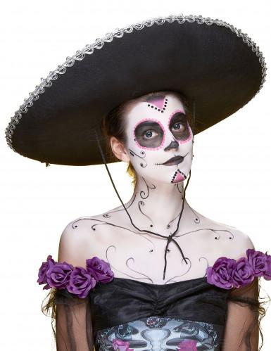 Mexiko Sombrero für Erwachsene schwarz-silber-1