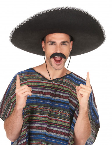 Mexiko Sombrero für Erwachsene schwarz-silber-2