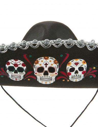Sombrero Dia de los Muertos silber - schwarz-1