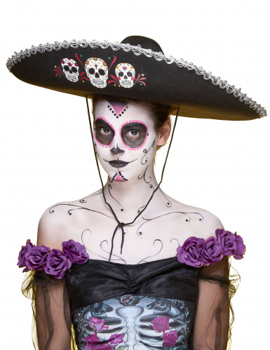 Sombrero Dia de los Muertos silber - schwarz-3