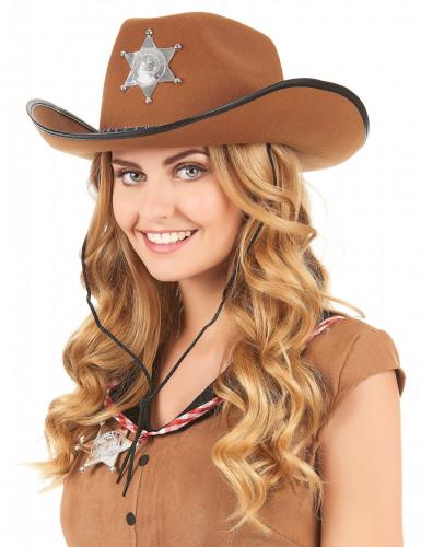 Cowboyhut Sheriff für Erwachsene braun-1
