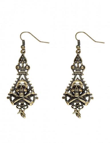 Piraten-Ohrringe für Erwachsene in Gold-Schwarz